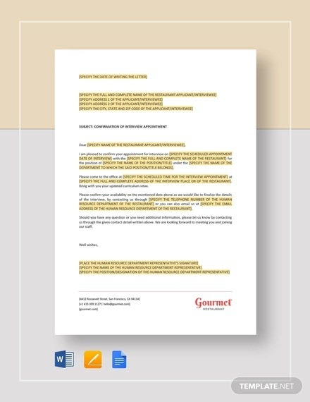 Interview Appointment Letter Templates