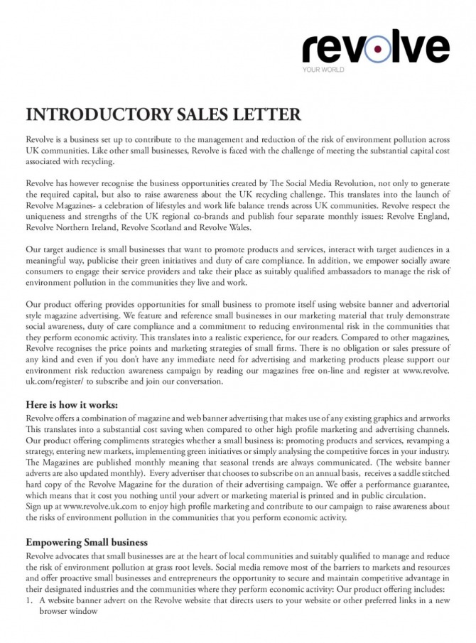 Introductory Sales Letter By Revolve Environmental Solutions