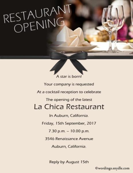 Invitations For Restaurant Opening