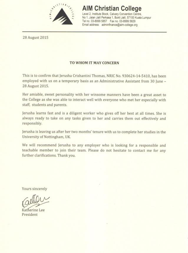 Jerusha Thomas Aim Administrative Assistant Recommendation Letter