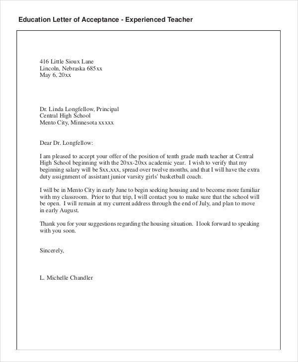 Job Acceptance Letter