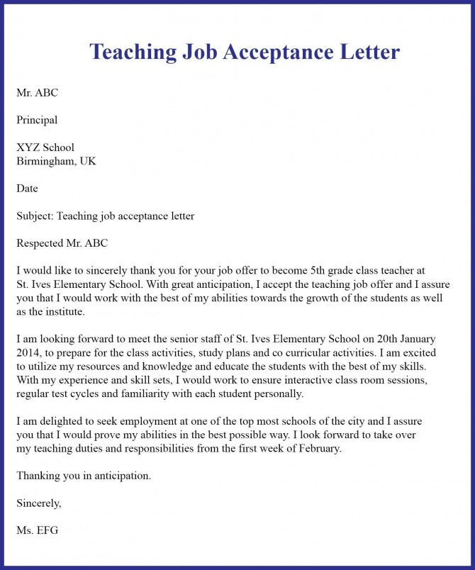 Job Acceptance Letter Template Examples   Samples