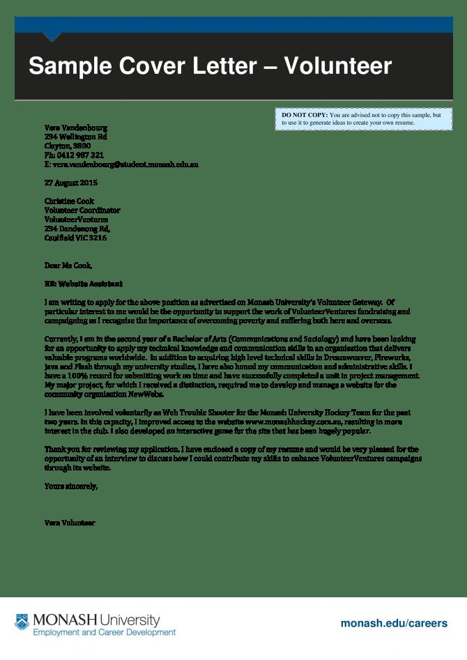 Job Application Letter For Volunteer Co Ordinator