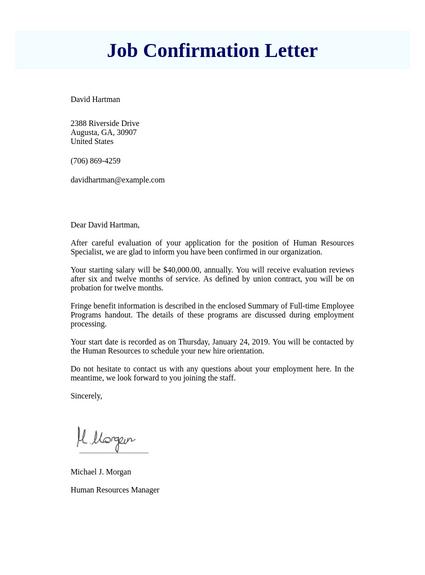 Job Confirmation Letter