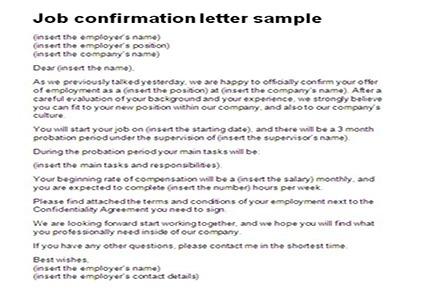 Job Confirmation Letter Sample