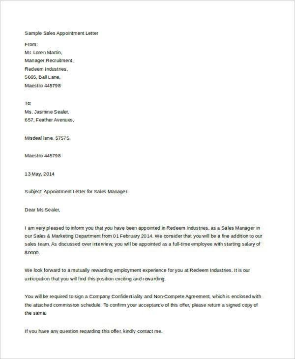 Job Offer Letter Example