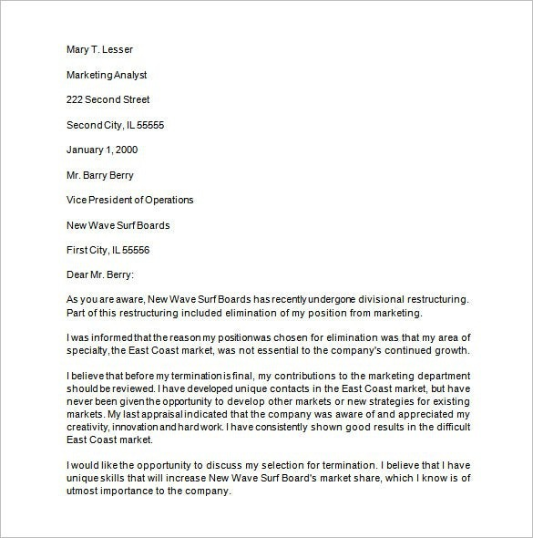 Job Termination Letter Templates