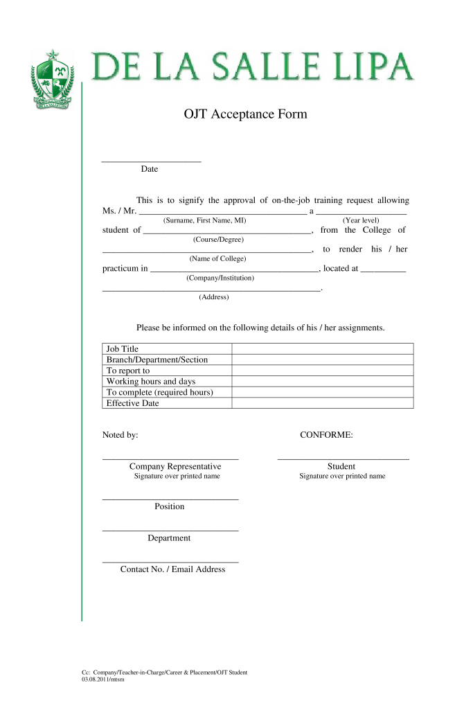 Job Training Acknowledgement Letter