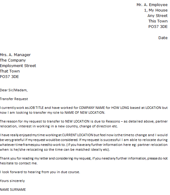 Job Transfer Request Letter Example