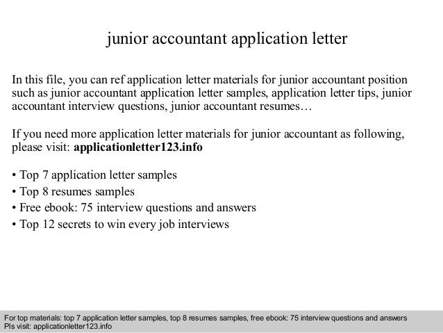 Junior Accountant Application Letter