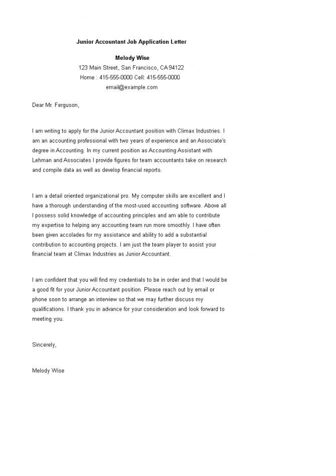Junior Accountant Job Application Letter Sample