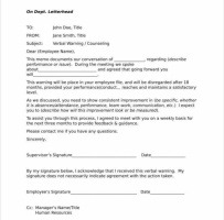 Verbal Warning Letter For Lateness