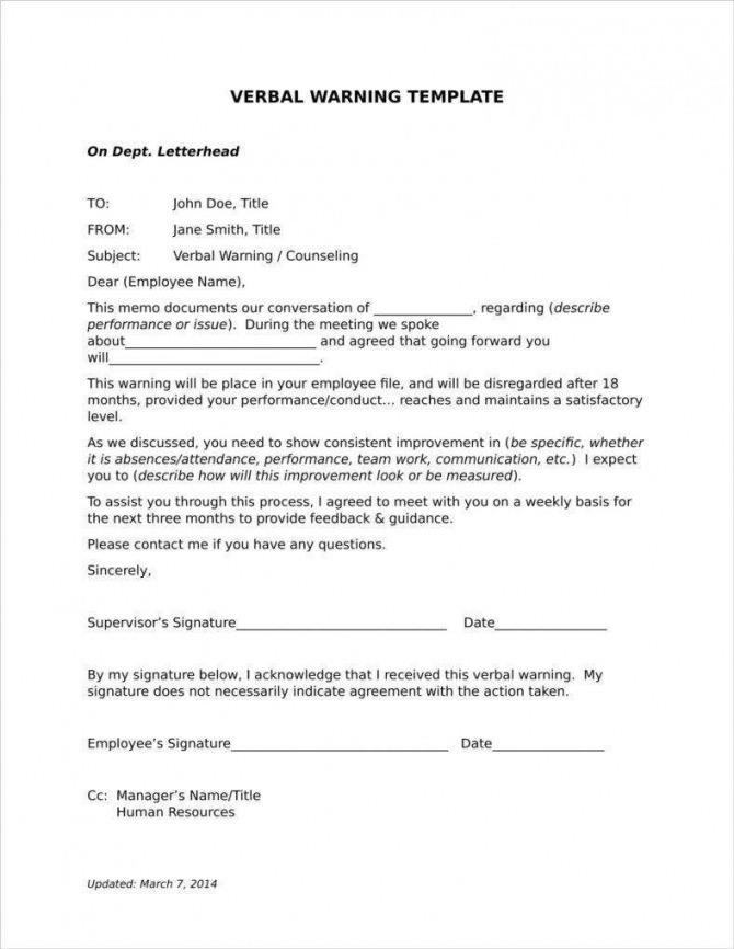 Late Warning Letter Examples