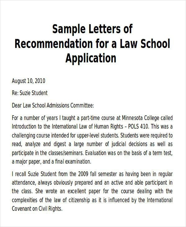 Law School Recommendation Letter From Employer Luxury Sample Law