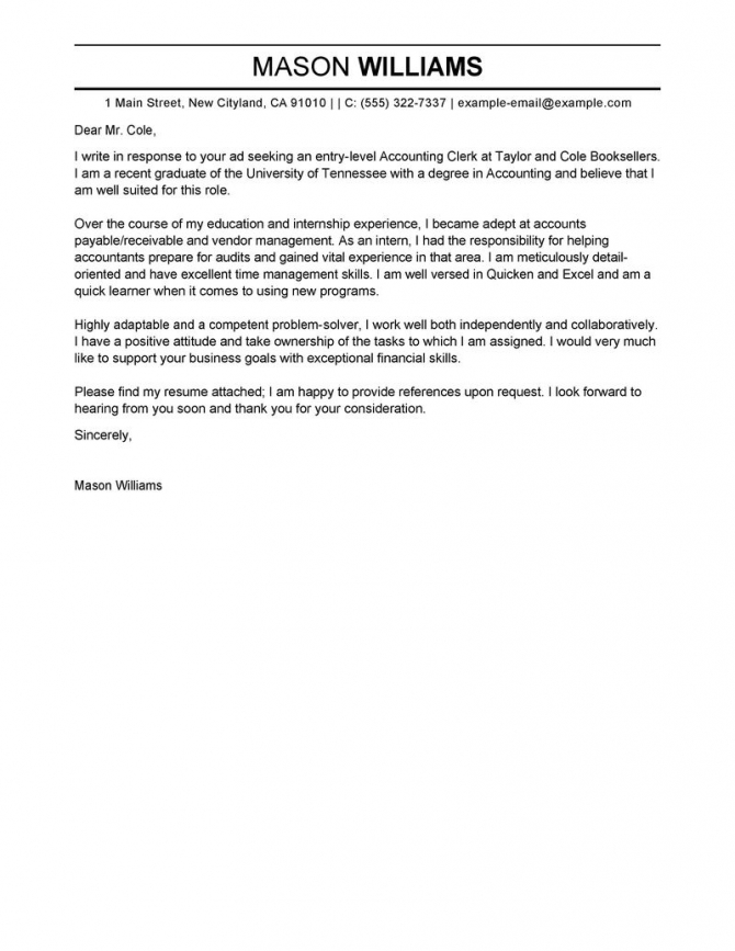 Leading Professional Accounting Clerk Cover Letter Examples