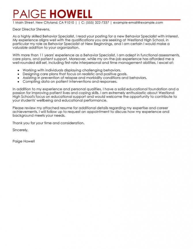 Leading Professional Behavior Specialist Cover Letter Examples