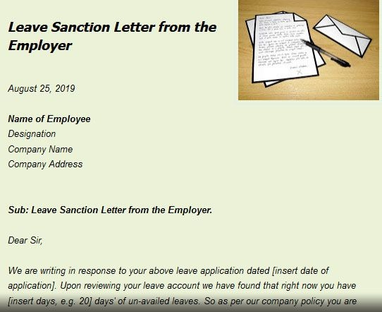 Leave Sanction Letter From The Employer