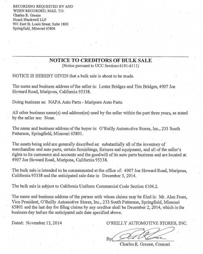 Legal Notice Napa Auto Parts