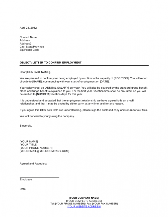 Letter Confirming Employment Template
