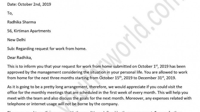 Letter For Allowing An Employee To Work From Home