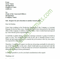 Transfer Request Letter For Bank Employee