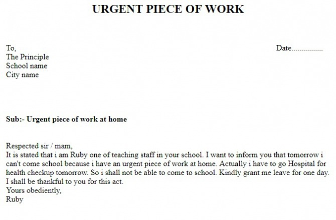Letter For Urgent Work At Home