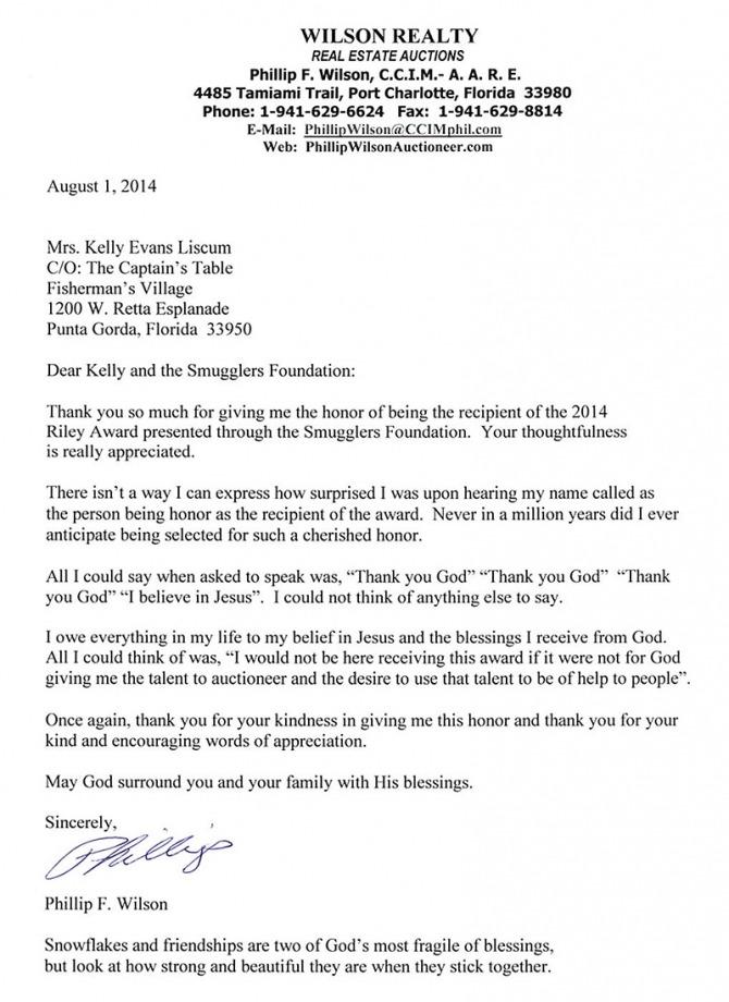 Letter From Philip F Wilson   Riley Award Winner