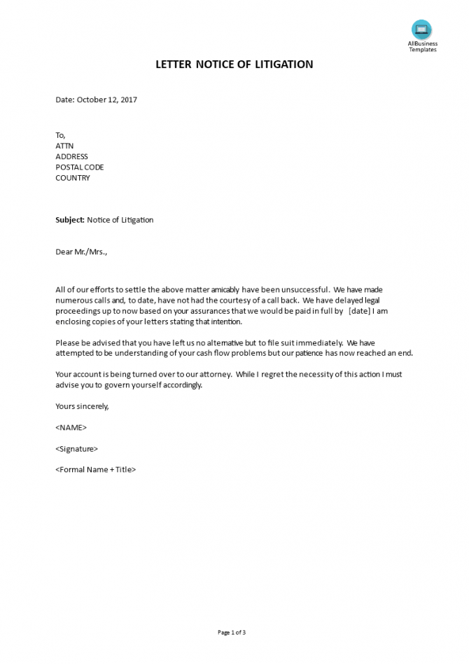Letter Notice Of Litigation