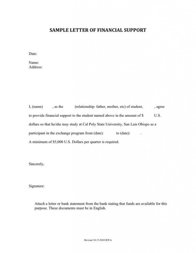 Letter Of Financial Support For Medicaid In