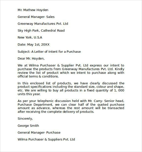 Letter Of Intent To Purchase Business