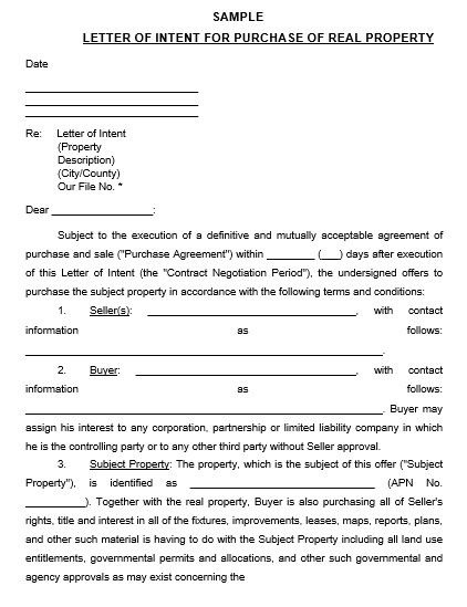 Letter Of Intent To Purchase Property And What Matters To Write