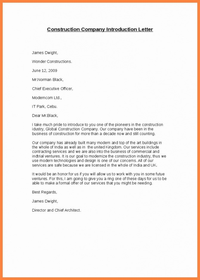 Letter Of Introduction Example