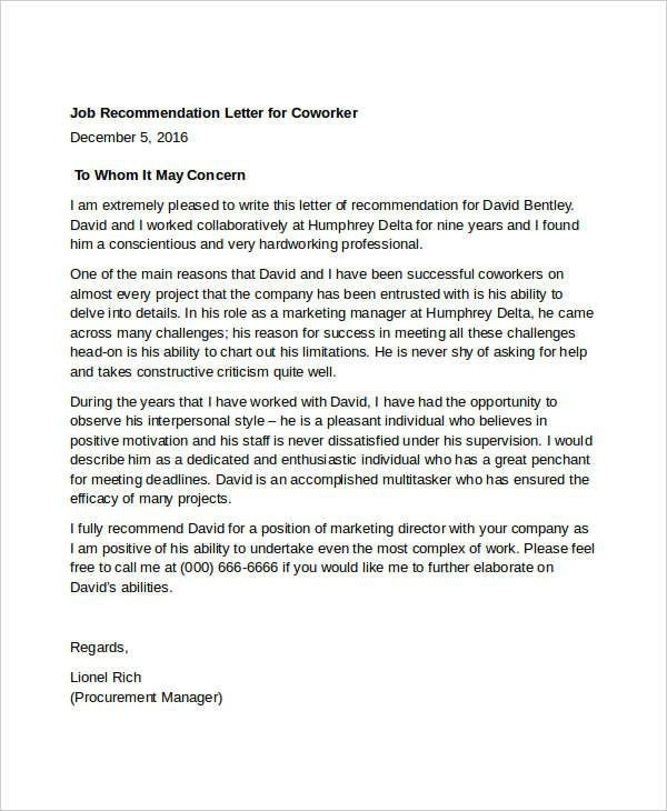 Letter Of Recommendation For Former Coworker Examples Feels Free