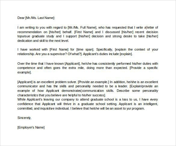 Letter Of Recommendation For Graduate School From Employer In Word