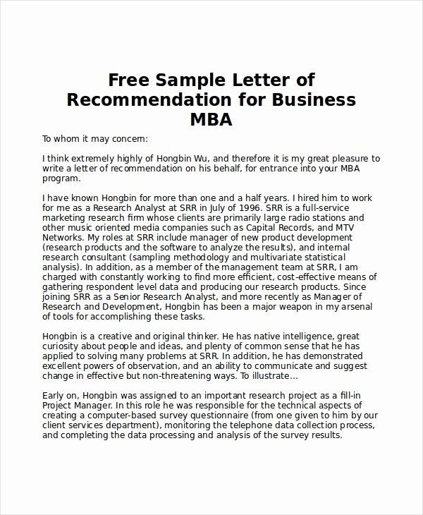 Letter Of Recommendation For Mba In