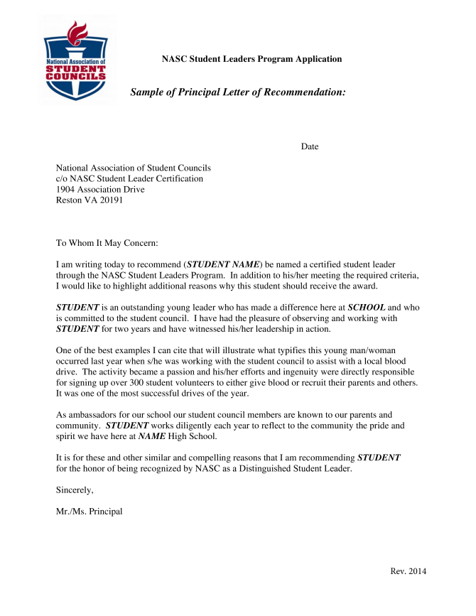 Letter Of Recommendation For Student Council