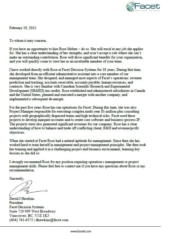 Letter Of Recommendation From Ceo Of Facet Decision Systems