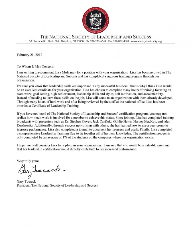 Letter Of Recommendation From The National Society Of Leadership