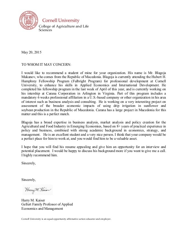 Letter Of Recommendation Professor Harry Kaiser