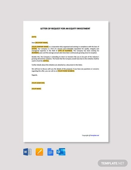 Letter Of Request For An Equity Investment Template