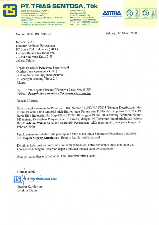 Letter Of Statement Of Company Secretary Replacement
