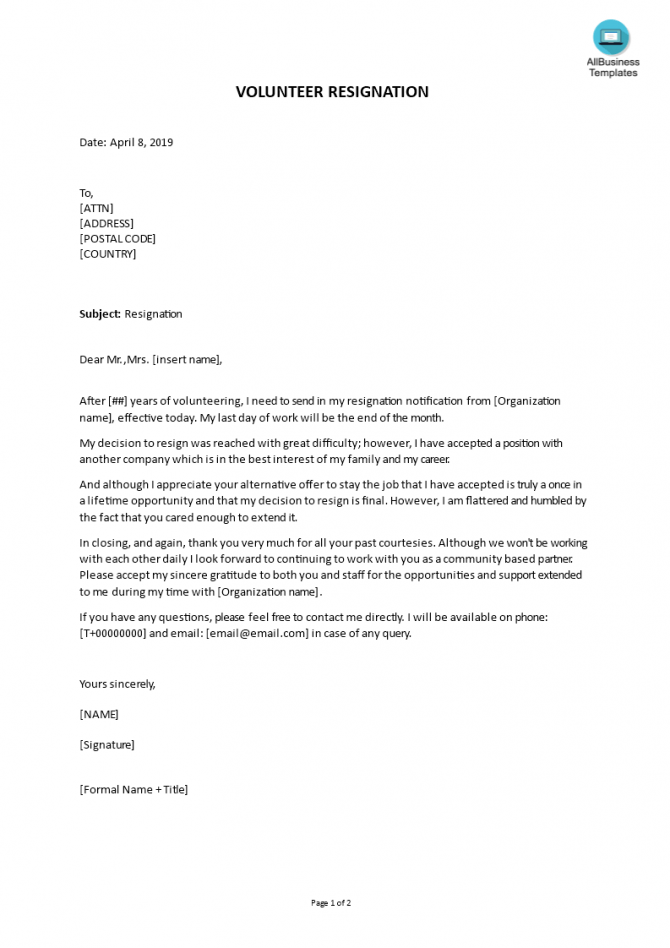 Letter Of Volunteer Resignation