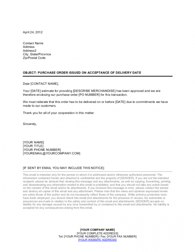 Letter Purchase Order Issued On Acceptance Of Delivery Date