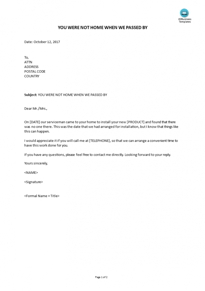 Letter To Customer Not Home For Service Appointment