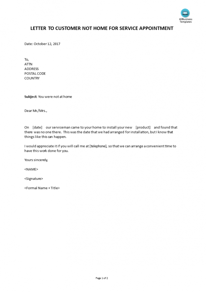 Letter To Customer Not Home Service Appointment