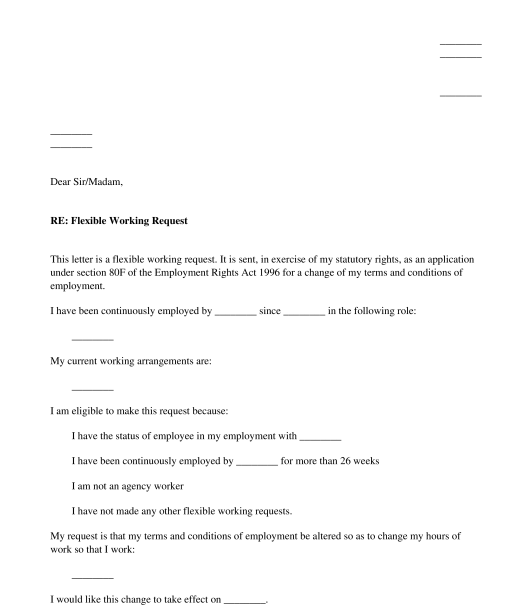 Letter To Request Flexible Working