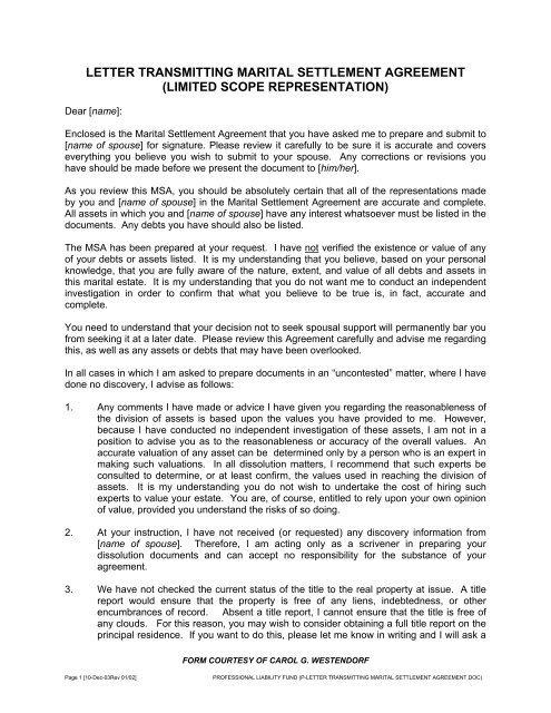 Letter Transmitting Marital Settlement Agreement