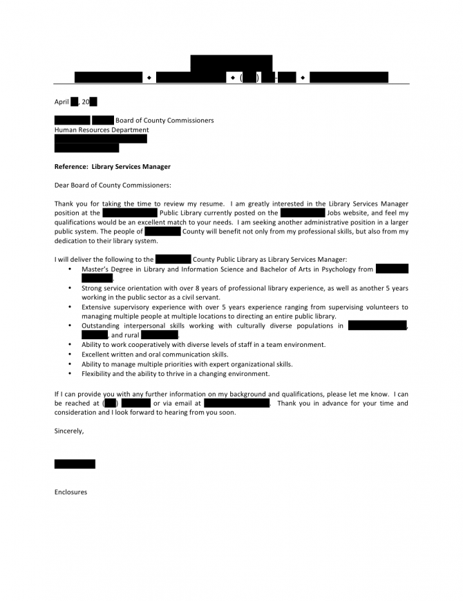 Library Services Manager Cover Letter