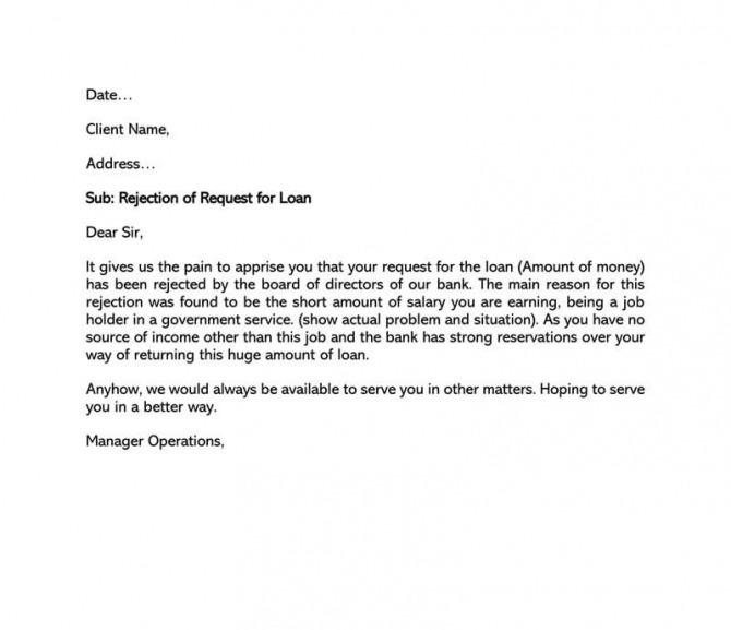 Loan Application Rejection Letter  Sample Letters   Writing Tips