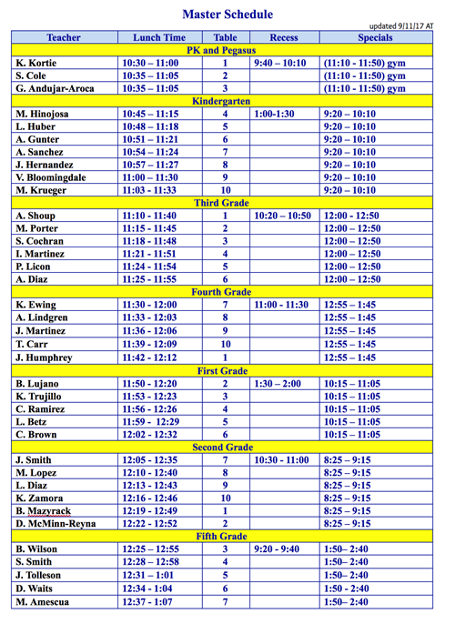 Lunch   Teacher Conference Times  Master Schedule